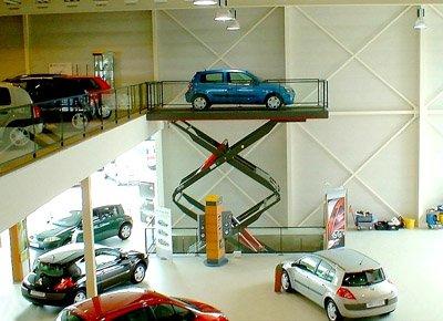 Elevador de automóviles de tijera doble.