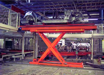 Mesa cadena rígida transferencia de bastidor automóvil.