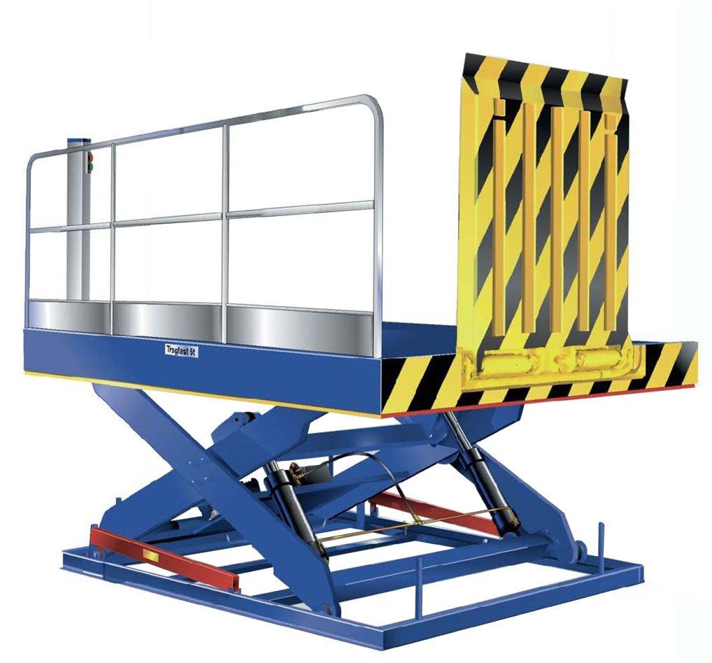 Mesa elevadora para carga y descarga con trampillas abatibles, barandilla y malla de protección.