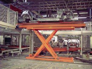 Mesas elevadoras para la industria automovilística.