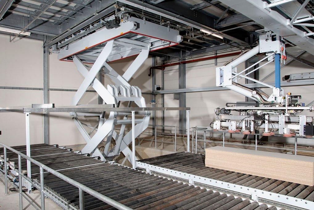 Mesa elevadora para cadena de producción de doble tijera integrada en línea de transporte.