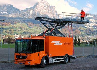 Plataforma en vehículo para trabajos de inspección.
