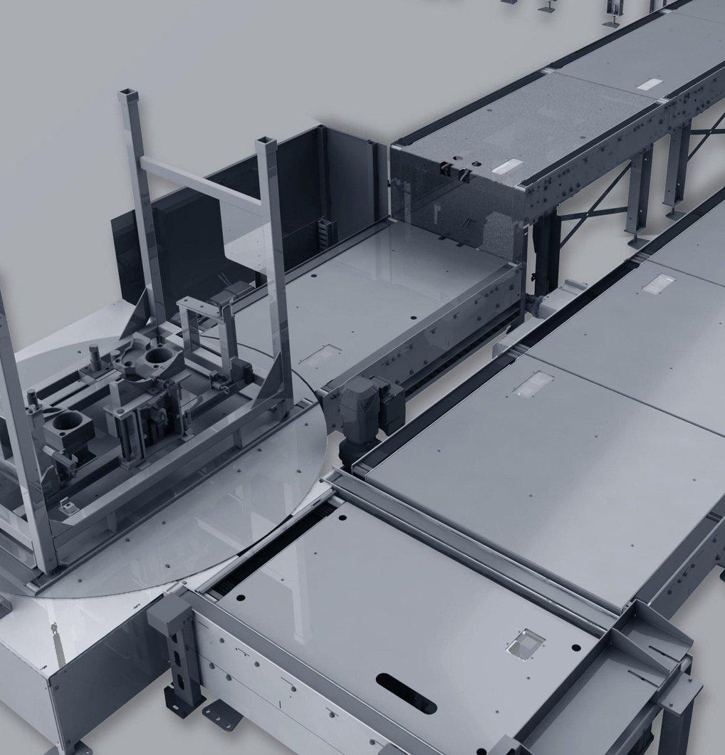 Transportador de cadenas con mesa giratoria.